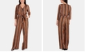 NY Collection Petite Striped Belted Jumpsuit