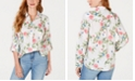 Charter Club Petite Linen Floral-Print Utility Shirt, Created for Macy's