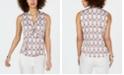 Nine West Printed Tie-Neck Blouse