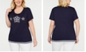 Karen Scott Plus Size Embroidered Studded Top, Created for Macy's