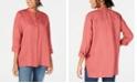 Eileen Fisher Organic Linen Stand-Collar Blouse, Regular & Petite