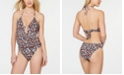 Bar III Run Wild Printed Plunging One-Piece Swimsuit, Created for Macy's