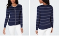 Charter Club Striped Scalloped-Trim Cardigan, Created for Macy's