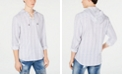 INC International Concepts INC Men's Stripe Lace-Up Hooded Shirt, Created for Macy's