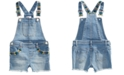 Epic Threads Little Girls Rainbow-Embroidered Denim Shortall, Created for Macy's