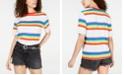 Love Tribe Juniors' Rainbow Striped Ringer T-Shirt
