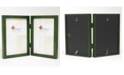"""Lawrence Frames Hinged Double Green Wood Picture Frame - Gallery Collection - 5"""" x 7"""""""