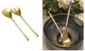 Classic Touch Stainless Steel Salad Servers with White Handle