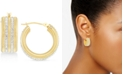 Signature Gold Swarovski Crystal & Diamond Accent Hoop Earrings in 14k Gold Over Resin, Created for Macy's