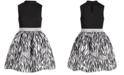 Pink & Violet Big Girls Mock-Neck Zebra-Print Dress
