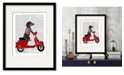 """Courtside Market Dachshund On A Moped 16"""" x 20"""" Framed and Matted Art"""