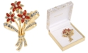 Charter Club Gold-Tone Crystal & Imitation Pearl Flower Bouquet Pin, Created for Macy's