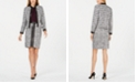 Calvin Klein Faux-Leather-Trimmed Tweed Blazer, Cotton T-Shirt & Faux-Leather-Trimmed Tweed Pencil Skirt