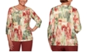 Alfred Dunner Cedar Canyon Embellished Graphic-Print Knit Top