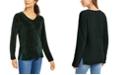 Karen Scott Petite V-Neck Chenille Sweater, Created For Macy's