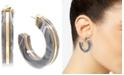 "Zenzii Medium Gold-Tone & Acetate Open Hoop Earrings 1-1/2"""