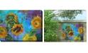 "West of the Wind Sunflower on Blue Indoor/Outdoor Art, 40"" x 30"""