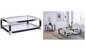 Benzara Metal Coffee Table with Glass Top and Shelf