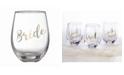 "Lillian Rose Gold ""Bride"" Stemless Wine Glass"