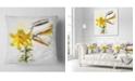 "Design Art Designart Yellow Tulip Stem With Leaves Floral Throw Pillow - 18"" X 18"""