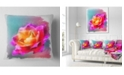 "Design Art Designart Handmade Purple Rose Drawing Floral Throw Pillow - 18"" X 18"""