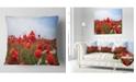 "Design Art Designart Red Poppies Under Bright Blue Sky Flower Throw Pillow - 18"" X 18"""