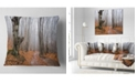 "Design Art Designart Road Covered By Fallen Leaves Modern Forest Throw Pillow - 18"" X 18"""