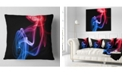"Design Art Designart Blue Red Floating Smoke On Black Abstract Throw Pillow - 16"" X 16"""