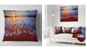 """Design Art Designart Colorful Sunset With Bright Waters Seashore Throw Pillow - 16"""" X 16"""""""