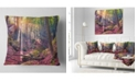 "Design Art Designart Autumn Morning In Mystical Woods Landscape Printed Throw Pillow - 18"" X 18"""