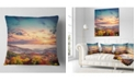 """Design Art Designart Colorful Sunset In Foggy Mountains Landscape Printed Throw Pillow - 16"""" X 16"""""""