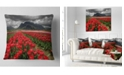 """Design Art Designart Rows Of Bright Ruby Red Tulips Landscape Printed Throw Pillow - 18"""" X 18"""""""