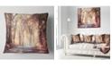 """Design Art Designart Golden Autumn Beautiful Forest Landscape Printed Throw Pillow - 18"""" X 18"""""""