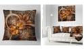 "Design Art Designart Dark Orange Fractal Flower Abstract Throw Pillow - 18"" X 18"""