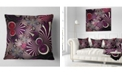 """Design Art Designart Dark Violet Fractal Flower Abstract Throw Pillow - 18"""" X 18"""""""