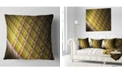 "Design Art Designart Brown Metal Protective Grids Abstract Throw Pillow - 16"" X 16"""