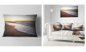"Design Art Designart Seashore Under Fiery Sunset Sky Modern Seashore Throw Pillow - 12"" X 20"""