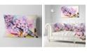 "Design Art Designart Japanese Cherry Blossoms Watercolor Floral Throw Pillow - 12"" X 20"""