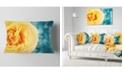 "Design Art Designart Rose Flower With Lit Up Background Floral Throw Pillow - 12"" X 20"""