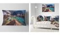 "Design Art Designart Colorful Glacier Cave Landscape Printed Throw Pillow - 12"" X 20"""
