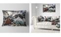 "Design Art Designart Campsite Above Turquoise Lake Landscape Printed Throw Pillow - 12"" X 20"""