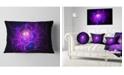 "Design Art Designart Bright Purple Fractal Cobweb Abstract Throw Pillow - 12"" X 20"""