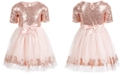 Pink & Violet Little Girls Sequined Unicorn Dress