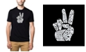 LA Pop Art Men's Premium Word Art T-Shirt - Peace Fingers