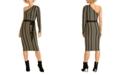 RACHEL Rachel Roy Belted One-Shoulder Sweater Dress