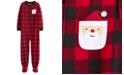 Carter's Little & Big Boys 1-Pc. Buffalo-Check Fleece Santa Footed Pajamas