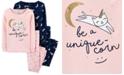 Carter's Little & Big Girls 4-Pc. Cotton Snug-Fit Unique-Corn Pajamas Set