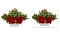"""Nearly Natural 24"""" Poinsettia, Holly, Berry and Pine Artificial Arrangement in Planter"""