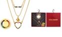 "Steve Madden Gold-Tone Multicolor Pavé Layered Pendant Necklace & Phone Ring Set, 14-1/2"" + 3"" extender"
