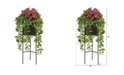 Nearly Natural 4' Azalea and Wandering Jew Artificial Plant in Stand Black Planter